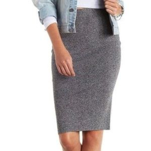 Charcoal heather marled sweater pencil knit skirt